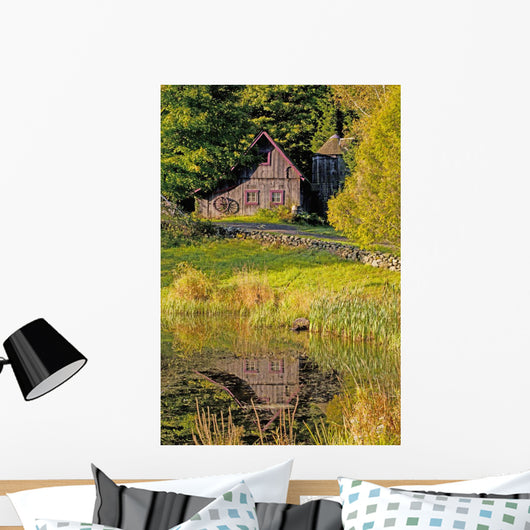 An Old Barn Reflected In The Pond Water Wall Mural