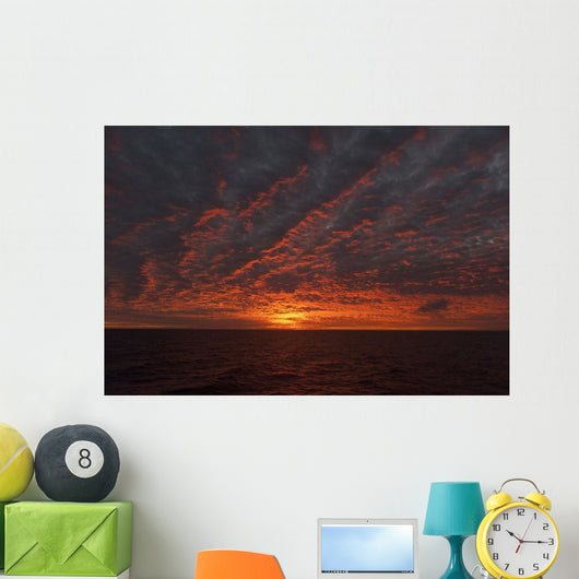 A Sunset Over The Pacific Ocean Wall Mural
