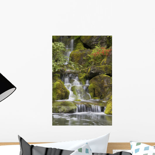 Small Waterfalls Along Moss Covered Rocks Wall Mural