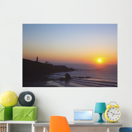 Sunset Over Yaquina Head Lighthouse Wall Mural