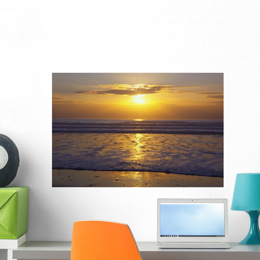 Sunset Over The Pacific Ocean Along The Oregon Coast Wall Mural