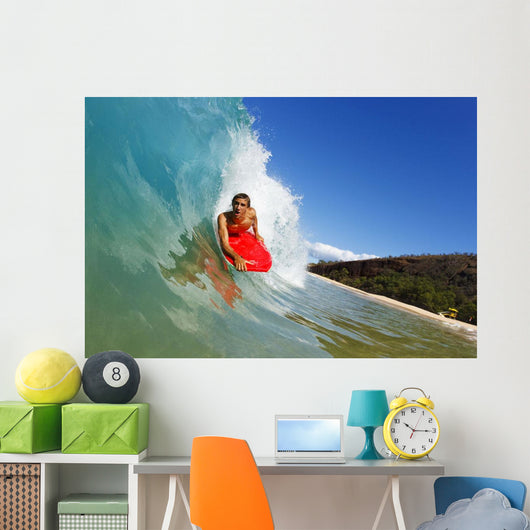 Young Man Boogie Boarding On Beautiful Wave Wall Mural