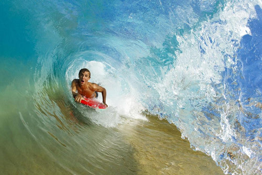 Boogie Boarder Riding Barrel Of Beautiful Wave Wall Mural