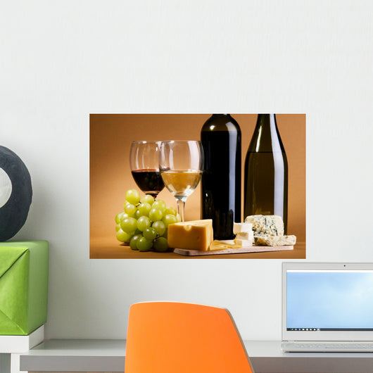 Wine and cheese still-life Wall Mural