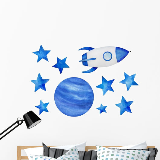 Blue Stars Cosmic Spaceship Wall Decal Sticker Set