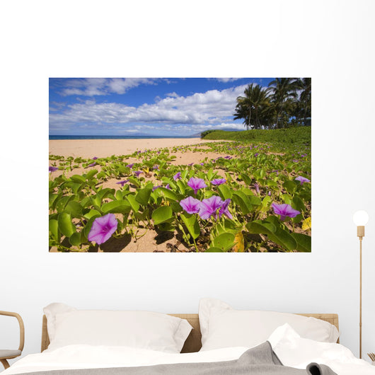 Green Leafy Vines With Pink Flowers On Shore Wall Mural