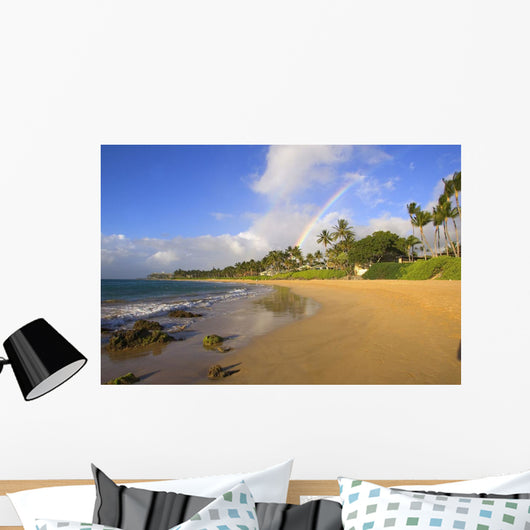 USA, Hawaii, Maui, Rainbow over palm trees and Keawakapu Beach Wall Mural