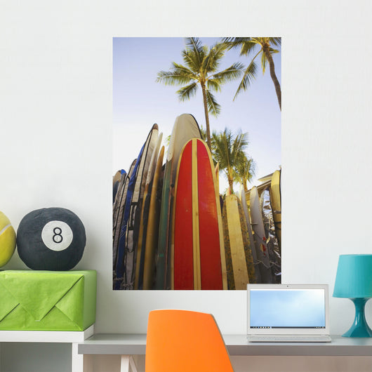 Close up view of colorful surfboards Wall Mural