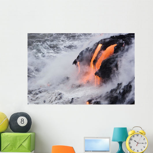 Pahoehoe Lava Flowing From Kilauea Into Frothy Pacific Ocean Wall Mural