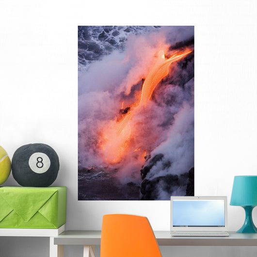 Pahoehoe Lava Flowing From Kilauea Into Steaming Pacific Ocean Wall Mural