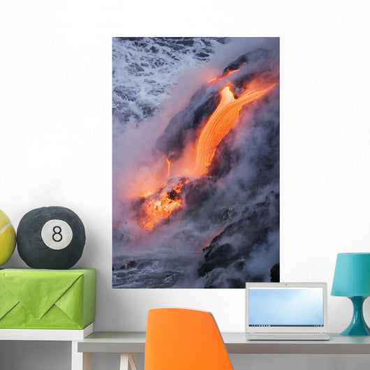 View of Pahoehoe lava flowing into Pacific Ocean Wall Mural