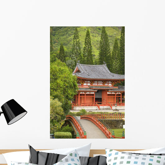 Hawaii, Oahu, Ahuimanu Valley, Valley Of The Temples, Byodo-In Temple Wall Mural