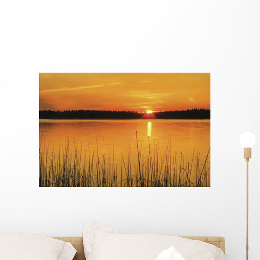 Sunset On Anglin Lake In Prince Albert National Park Wall Mural