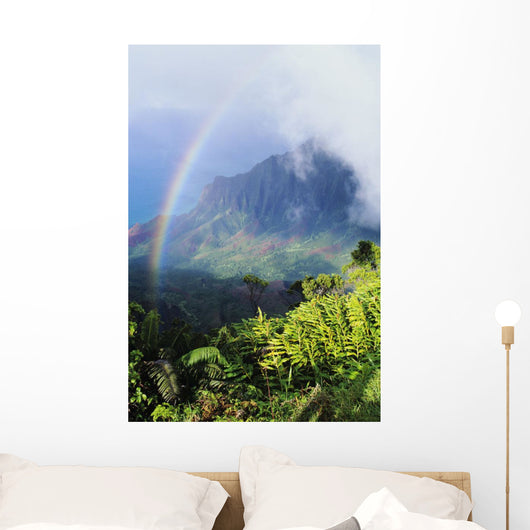 Kalalau Valley viewpoint in Kokee State Park with rainbow Wall Mural
