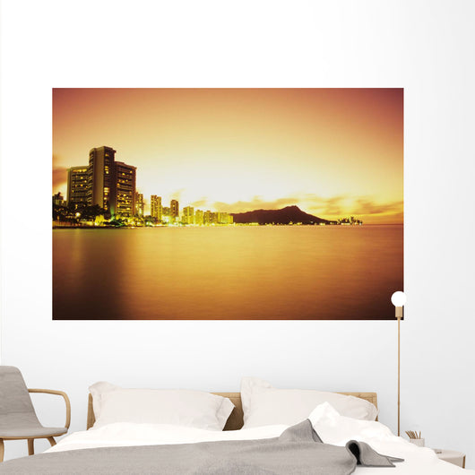Hawaii, Oahu, Honolulu, Waikiki and Diamond Head at sunrise Wall Mural
