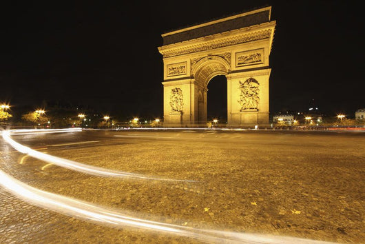 Traffic Light Trails Around The Arc De Triomphe Wall Mural