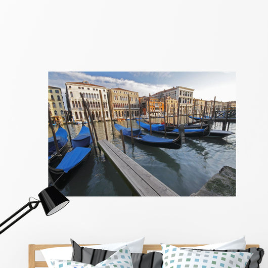 Gondolas Moored On The Grand Canal Wall Mural
