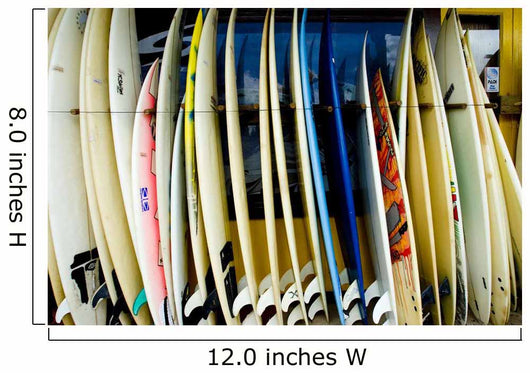row of surfboards outside of a surfshop Wall Mural