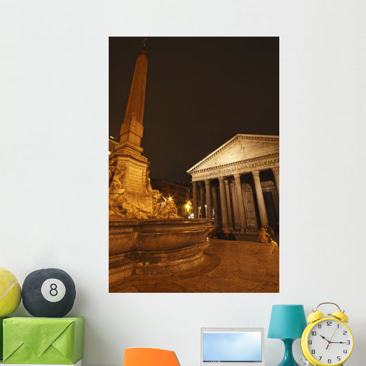 Night Lights Of The Pantheon In Piazza Della Rotunda Wall Mural