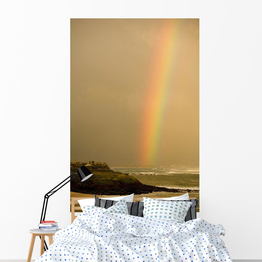 Hawaii, Maui, Rainbow over Maui's north coast Wall Mural