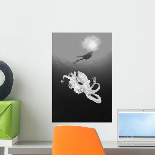 Hawaii, Lanai, Octopus In Ocean Water, Diver In Background Wall Mural