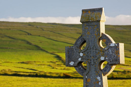 Celtic Cross In A Cemetery In The Burren Region Wall Mural
