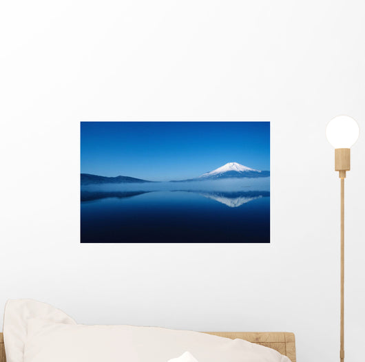 Scenic view of Mt Fuji and Lake Motosu Wall Mural