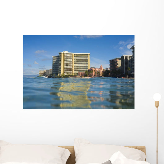 Sheraton Waikiki And Royal Hawaiian Hotel seen from Pacific ocean Wall Mural
