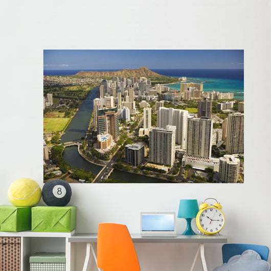 USA, Hawaii, Oahu, Aerial view of Waikiki Wall Mural