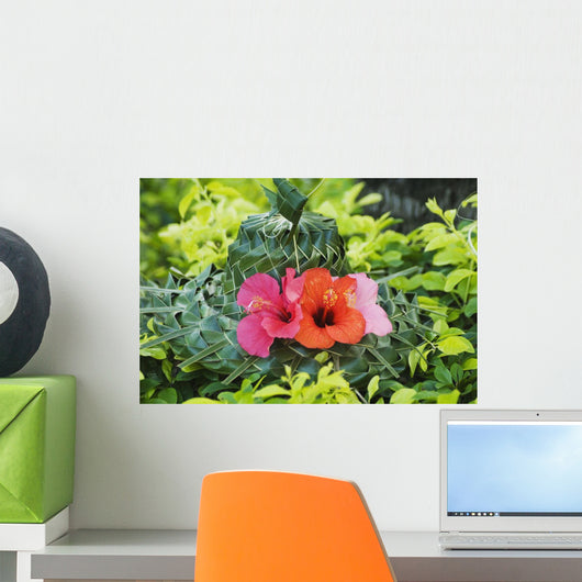 Green Lauhala Hat With Red And Pink Hibiscus Flowers Wall Mural