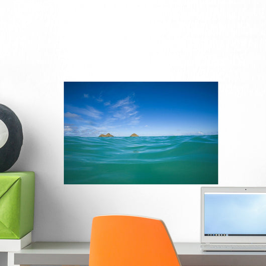 USA, Hawaii, Oahu, Pacific ocean with Mokulua island in background Wall Mural