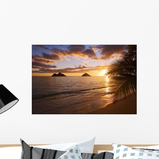 Lanikai Beach with Mokulua island in background at sunrise Wall Mural
