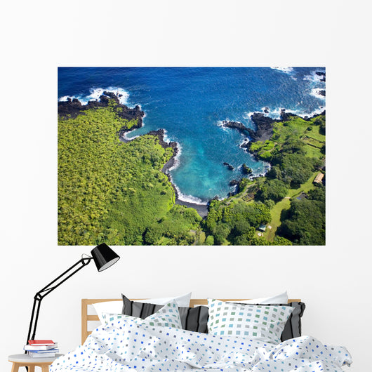 USA, Hawaii, Aerial View of Waianapanapa State Park Wall Mural