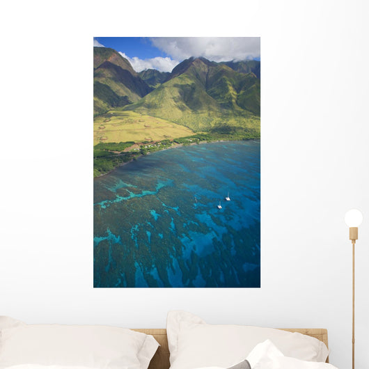 USA, Hawaii, Aerial view of Olowalu Area Wall Mural