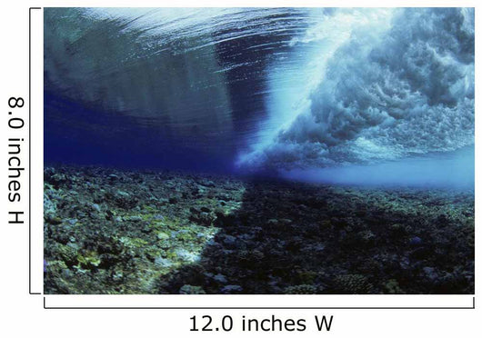Micronesia, Ocean swell seen from underwater over reef Wall Mural