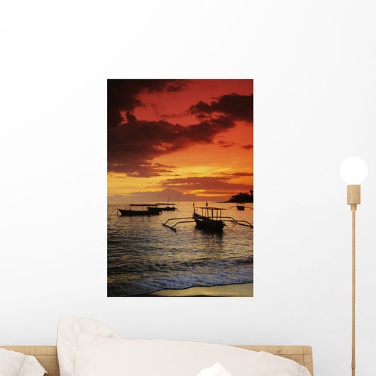 Indonesia, Lombok, Senggigi, Boats On The Water At Sunset Wall Mural