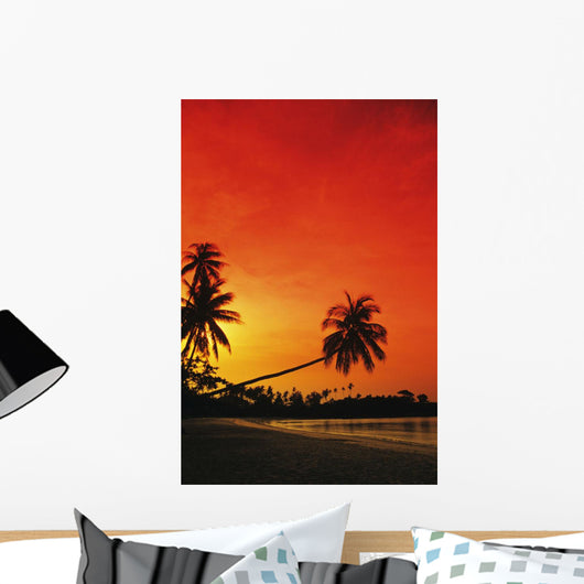 Indonesia, Tourist resort and beach at sunset Wall Mural