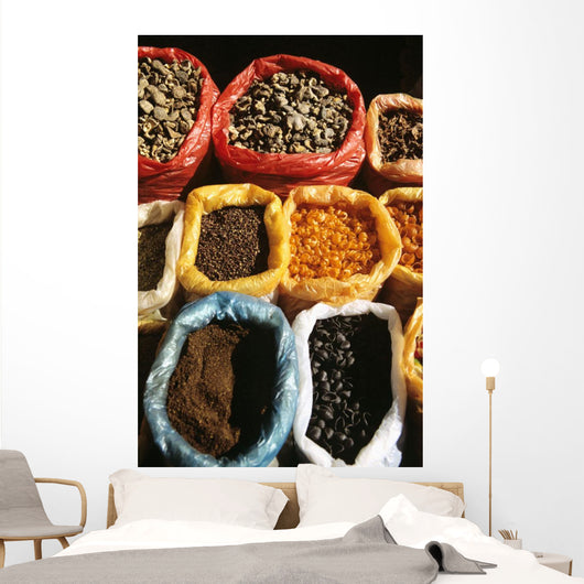 China, Lake Erhai Near Dali, Local Market At Wase, Dried Spices Wall Mural