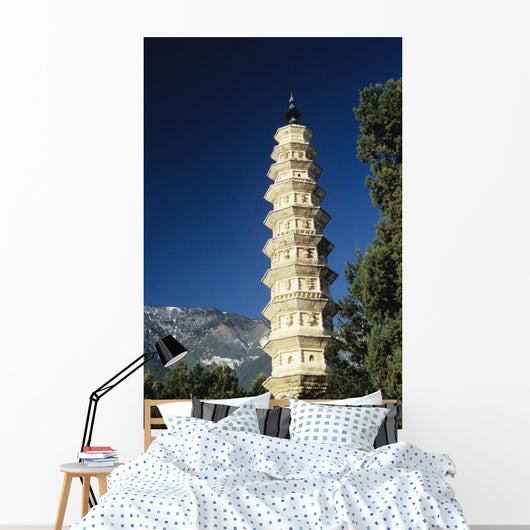 China, View of pagoda with mountain in background Wall Mural