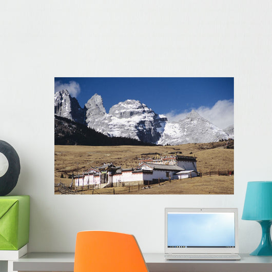 China, Jade Dragon Snow Mountain in background Wall Mural