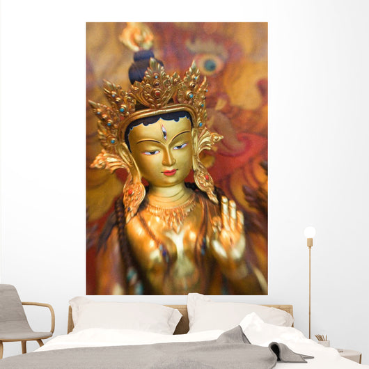 Asian Art, Close-Up Of Exotic Golden Sculpture Wall Mural