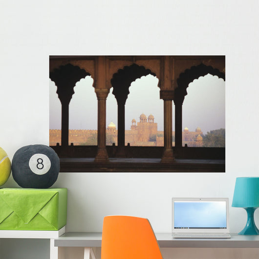 India, View of Red Fort from Jama Masjid Wall Mural
