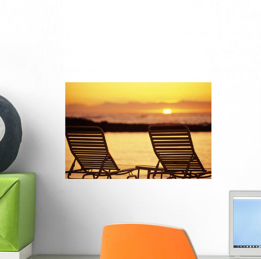 Hawaii, Two Silhouetted Chairs On Beach At Sunset, View From Behind Wall Mural