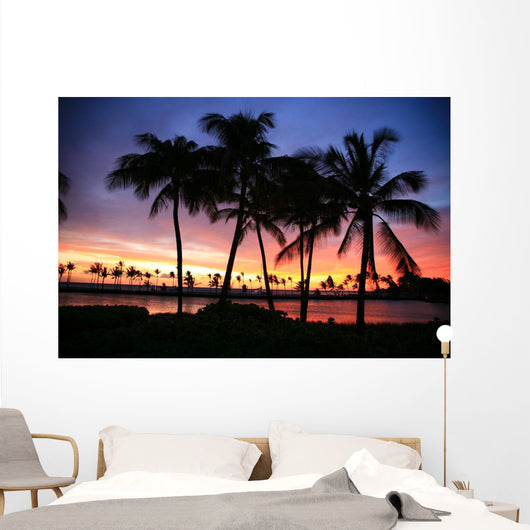 Dramatic And Colorful Sunset Sky With Palm Tree Silhouettes Wall Mural