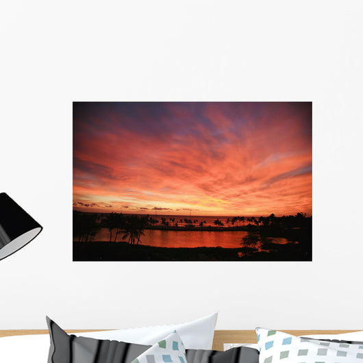 Dramatic And Vibrant Red Sunset Sky Wall Mural