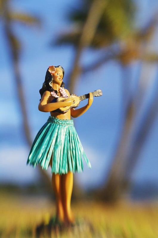 Hawaii, Oahu, Punaluu, Hula Doll On The Grass Beneath Palm Trees Wall Mural