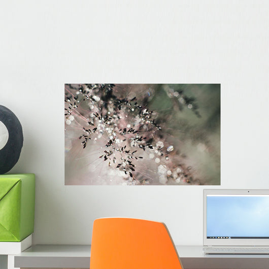 Pattern Of Plant And Water Droplets, Selective Focus Wall Mural