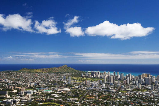 Uh Manoa and Waikiki seen from lookout at Pu'u Ualaokua Park Wall Mural