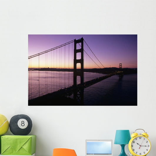 Golden Gate Bridge Silhouetted Against Evening Sky Wall Mural