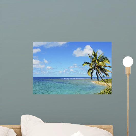 Fiji, Blue And Turquoise Ocean With Palm Tree And Sandy Beach Wall Mural
